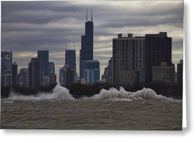 Lake Michgan Greeting Cards - Crashing surf in Stormy Chicago Greeting Card by Sven Brogren