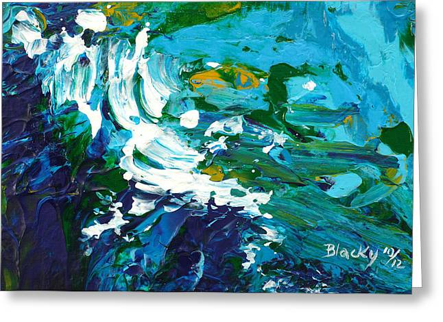 Blue Green Wave Greeting Cards - Crashing Wave Greeting Card by Donna Blackhall
