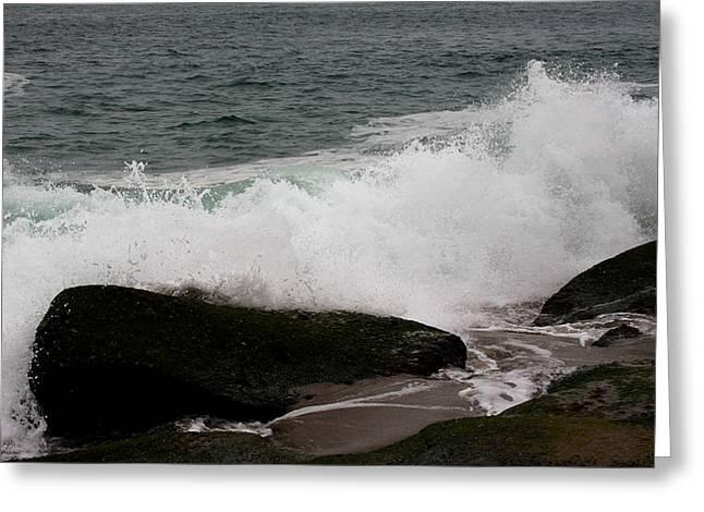 Ocean Photography Greeting Cards - Crashing Waves Greeting Card by Karen Harrison