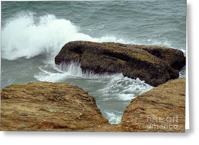 Ocean Photos Digital Greeting Cards - Crashing Waves Greeting Card by Methune Hively