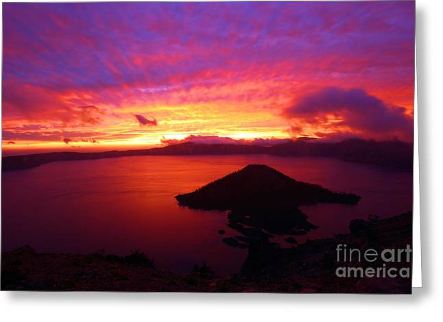 Crater Lake Sunset Greeting Cards - Crater Lake Fire In The Sky Greeting Card by Adam Jewell
