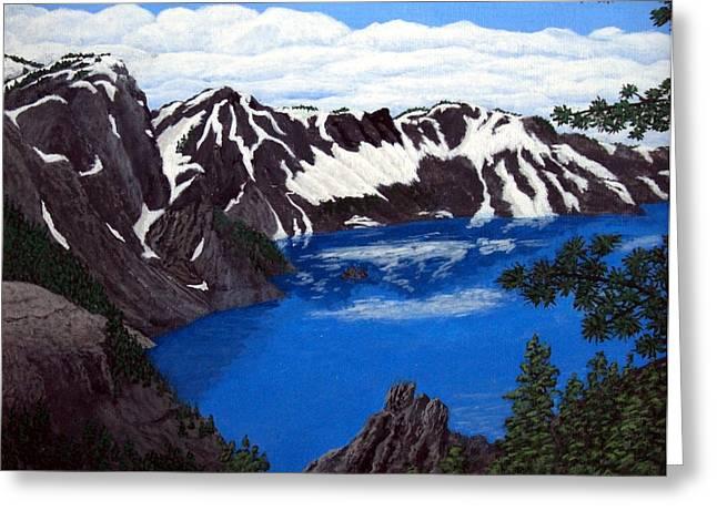 Crater Lake Greeting Card by Frederic Kohli