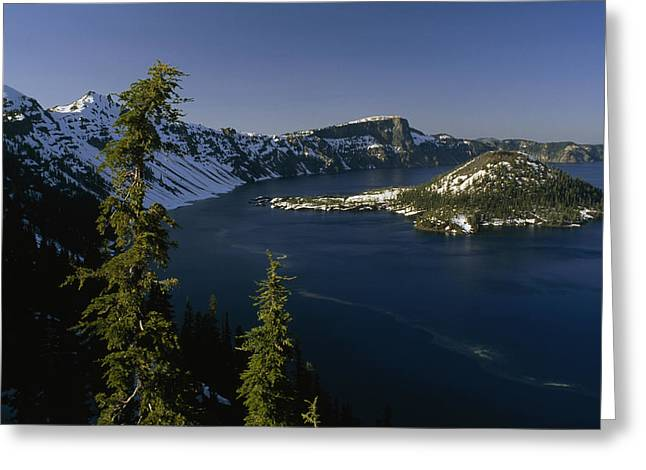Crater Lake View Greeting Cards - Crater Lake From Inspiration Point Greeting Card by Phil Schermeister