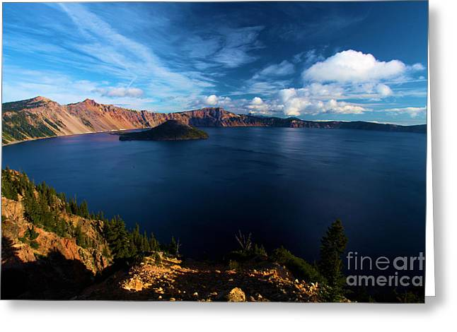 Craters Greeting Cards - Crater Lake Minus Trees Greeting Card by Adam Jewell