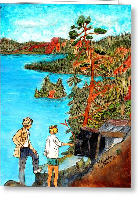 Craters Pyrography Greeting Cards - Crater Lake National Park Oregon Greeting Card by Mike Holder