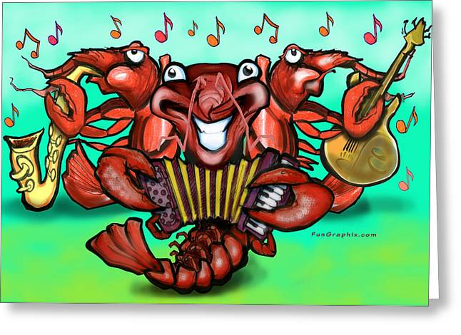 Zydeco Greeting Cards - Crawfish Band Greeting Card by Kevin Middleton