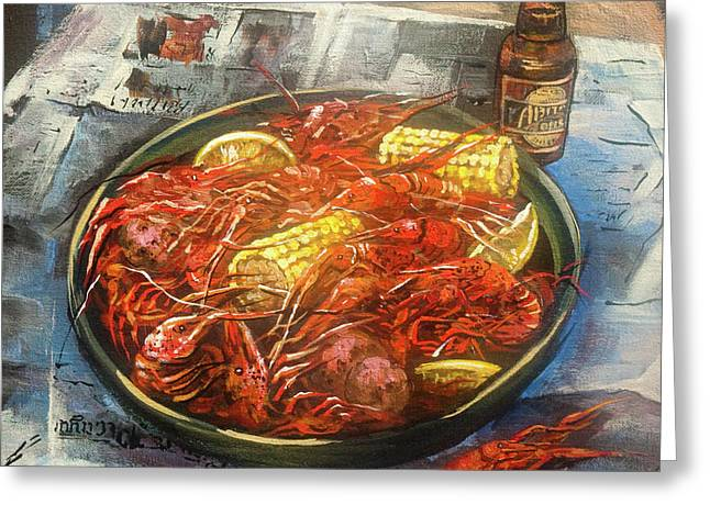 Food Art Paintings Greeting Cards - Crawfish Celebration Greeting Card by Dianne Parks