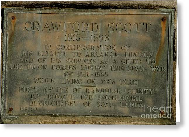 Randolph County Wv Greeting Cards - Crawford Scott Historical Marker Greeting Card by Randy Bodkins