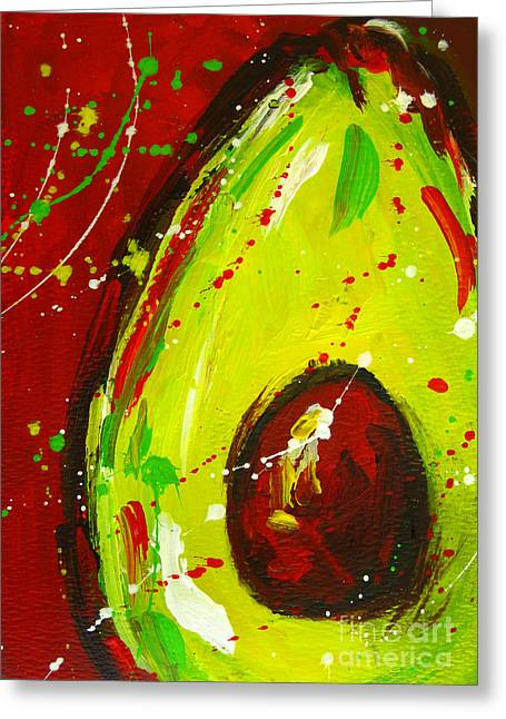Crazy Avocado 3 - Modern Art Greeting Card by Patricia Awapara