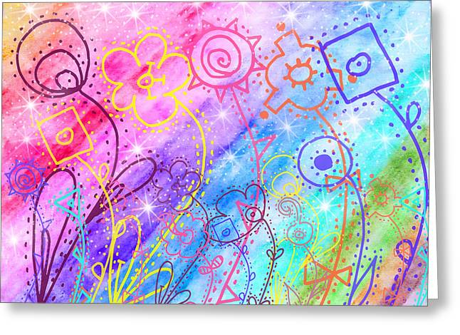 Abstract Digital Paintings Greeting Cards - Crazy Flower garden Greeting Card by Debbie Portwood