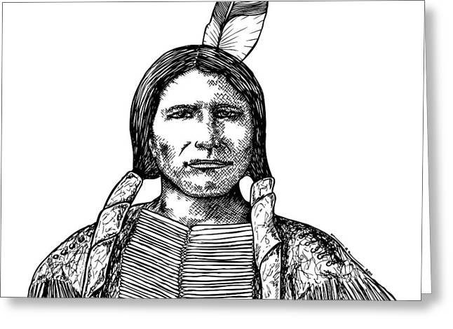 Native American Heroes Greeting Cards - Crazy Horse Greeting Card by Karl Addison
