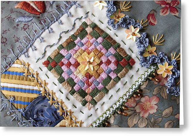 Fabric Quilt Tapestries - Textiles Greeting Cards - Crazy Quilt Block 4 Greeting Card by Masha Novoselova