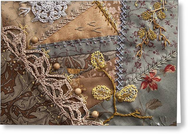 Crazy Quilt Greeting Cards - crazy quilt block May Greeting Card by Masha Novoselova