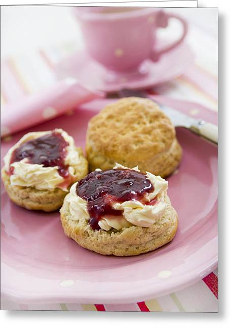 Strawberry Jam Greeting Cards - Cream Tea Greeting Card by Erika Craddock