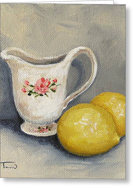 Cream With Lemons Greeting Card by Torrie Smiley