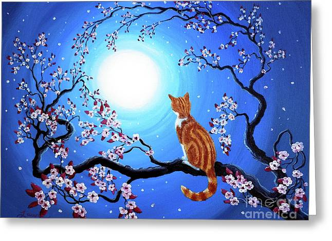 Cherry Blossoms Paintings Greeting Cards - Creamsicle Kitten in Blue Moonlight Greeting Card by Laura Iverson