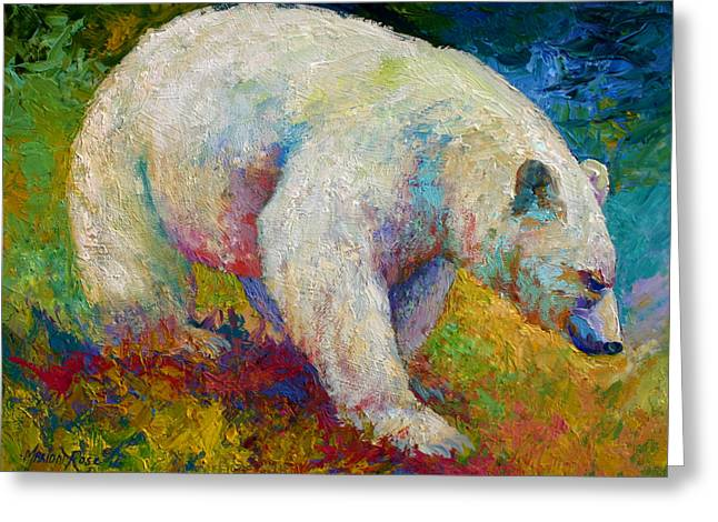 Best Sellers -  - Salmon Paintings Greeting Cards - Creamy Vanilla - Kermode Spirit Bear Of BC Greeting Card by Marion Rose