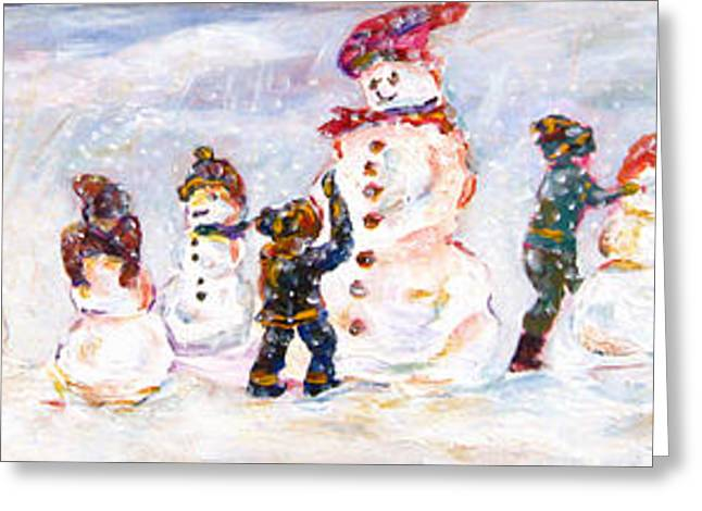 Snowy Day Greeting Cards - Creating Friends Greeting Card by Naomi Gerrard