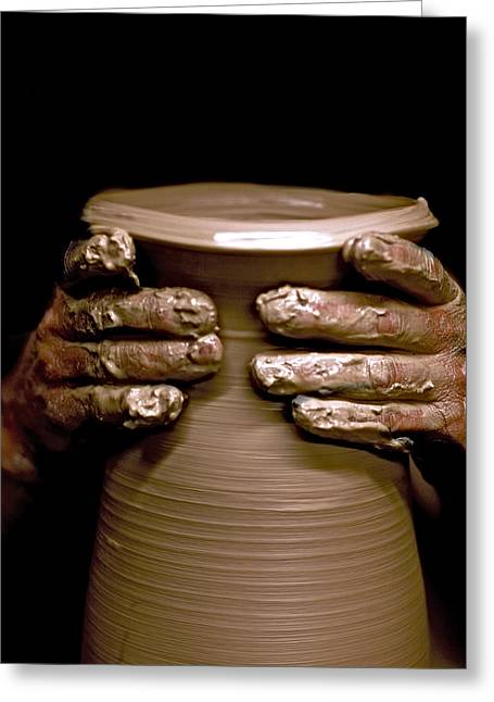 Hand Thrown Pottery Greeting Cards - Creation at the Potters Wheel Greeting Card by Rob Travis