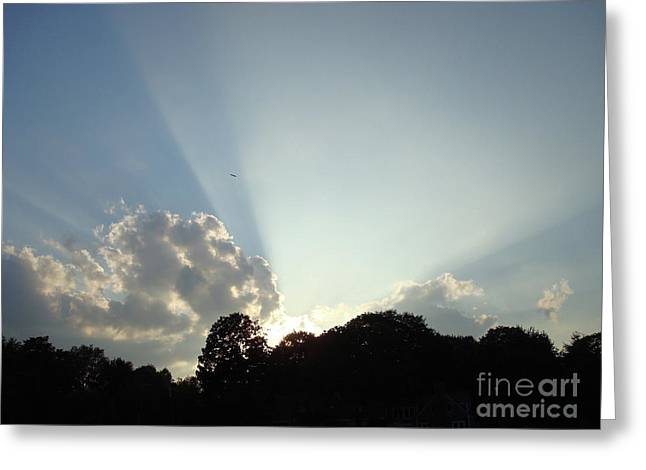 Sun Breaking Through Clouds Greeting Cards - Creation Greeting Card by B Rossitto