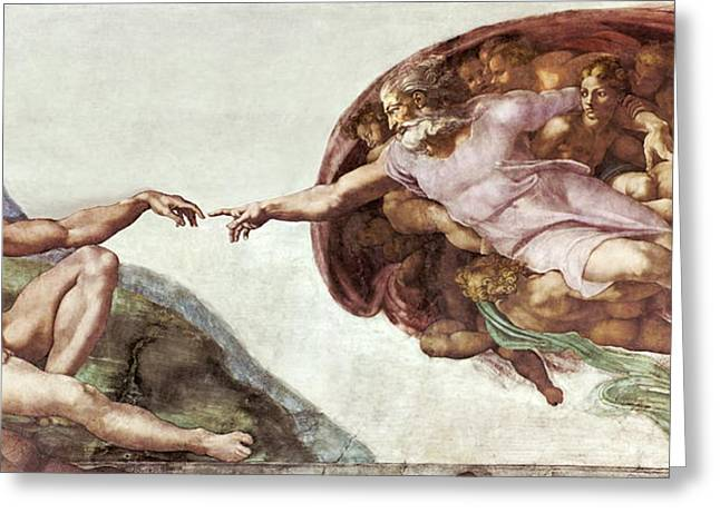 Buonarroti Photographs Greeting Cards - Creation Of Adam Greeting Card by Sheila Terry