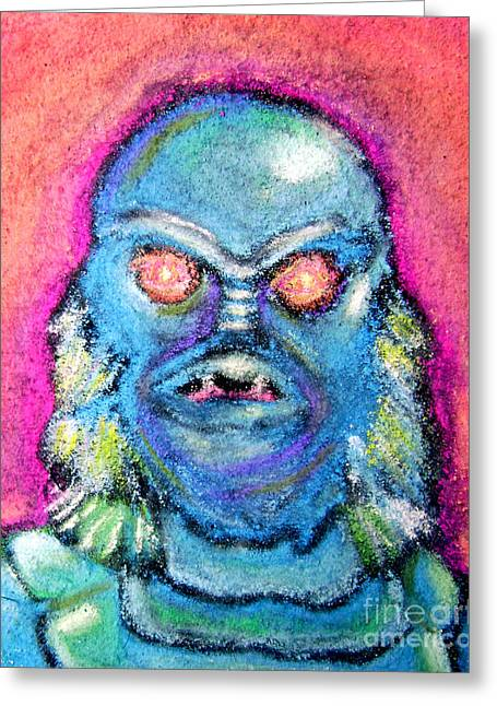 Sidewalk Drawings Greeting Cards - Creature from the Black Lagoon Greeting Card by Seamus Corbett