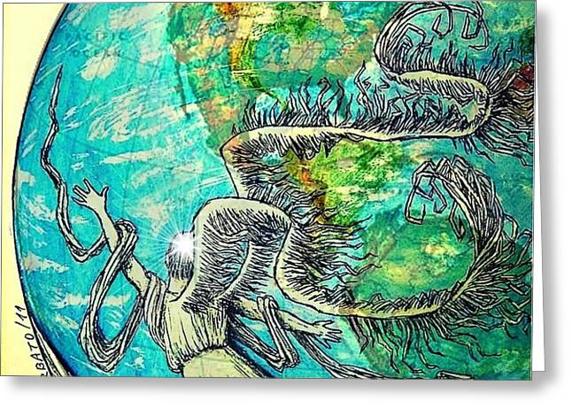 Creatures Can Understand And Absorb Greeting Card by Paulo Zerbato