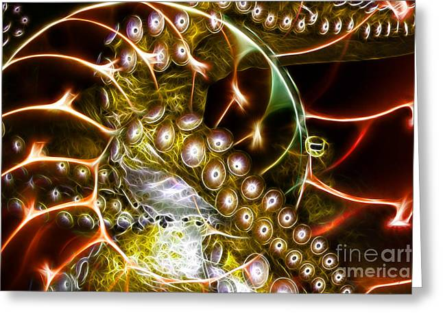 Nautilas Greeting Cards - Creatures of The Deep - Octopus Caught In The Swirl Of The Giant Nautilus - Electric - Gold Greeting Card by Wingsdomain Art and Photography