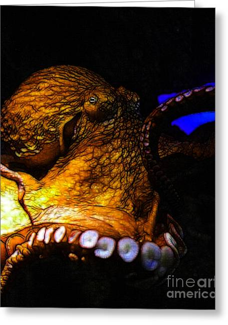 Mediterranian Greeting Cards - Creatures of The Deep - The Octopus - v6 - Gold Greeting Card by Wingsdomain Art and Photography