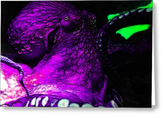 Creatures of The Deep - The Octopus - v6 - Violet Greeting Card by Wingsdomain Art and Photography