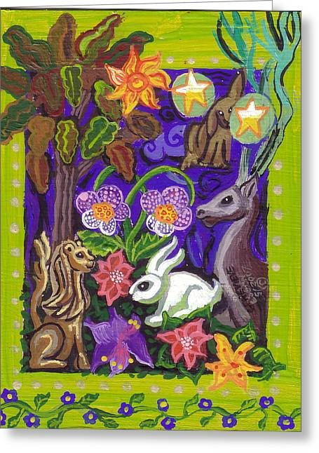 Planet Earth Paintings Greeting Cards - Creatures Of The Realm Greeting Card by Genevieve Esson