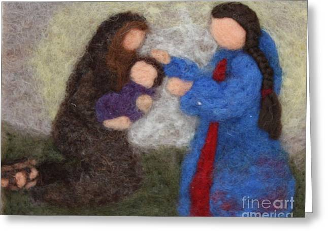 Mary Tapestries - Textiles Greeting Cards - Creche Scene Greeting Card by Nicole Besack