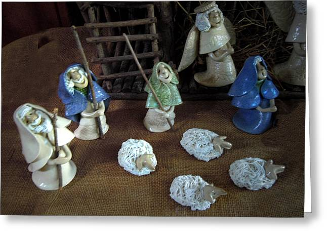 Creche Shepards and Sheep Greeting Card by Nancy Griswold