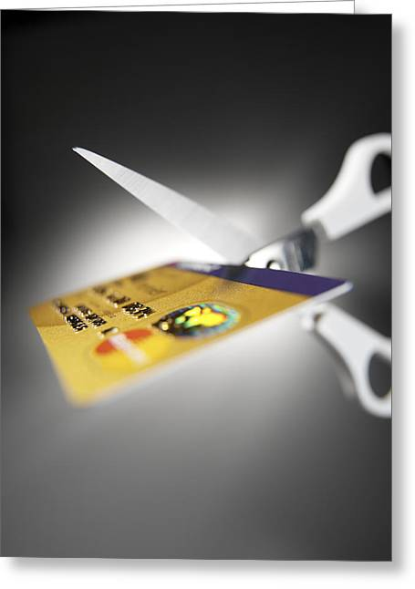 Bankrupt Greeting Cards - Credit Card Debt Greeting Card by Tek Image