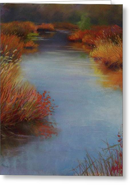 Creek Pastels Greeting Cards - Creek Edged in Reds Greeting Card by Marcus Moller