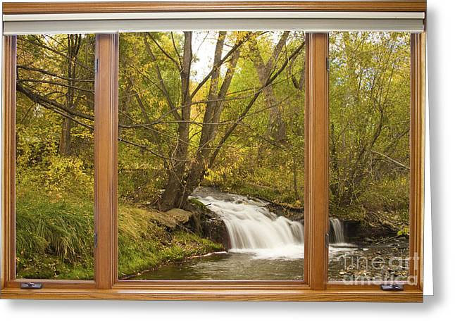 Canvas Wrap Greeting Cards - Creek Waterfall Picture Window View Greeting Card by James BO  Insogna