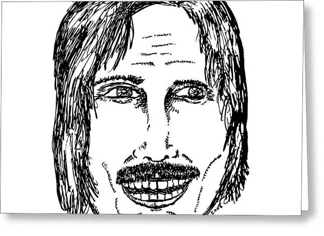 Ma.. Drawings Greeting Cards - Creep Mustache Dude Greeting Card by Karl Addison