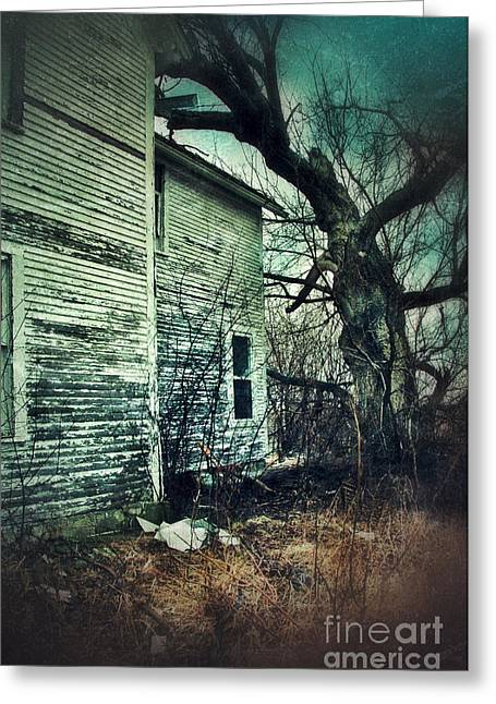 Clapboard House Greeting Cards - Creepy Abandoned House  Greeting Card by Jill Battaglia