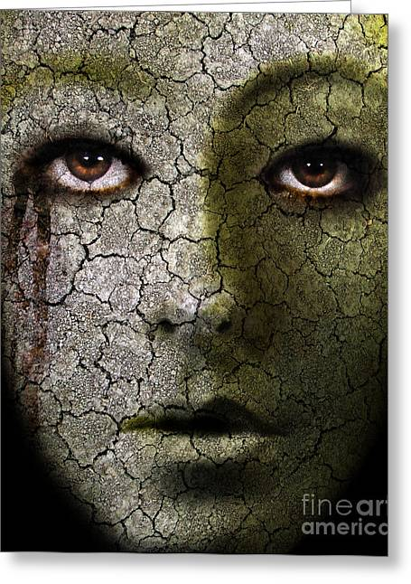 Ghastly Greeting Cards - Creepy Cracked Face With Tears Greeting Card by Jill Battaglia