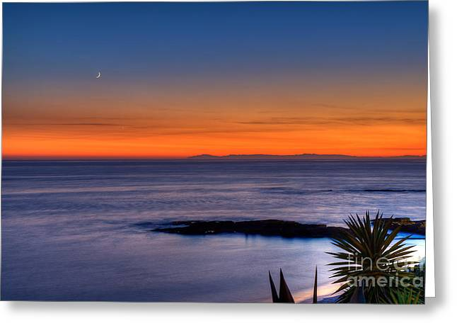 Moon Beach Greeting Cards - Crescent Moon at Sunset Greeting Card by Eddie Yerkish