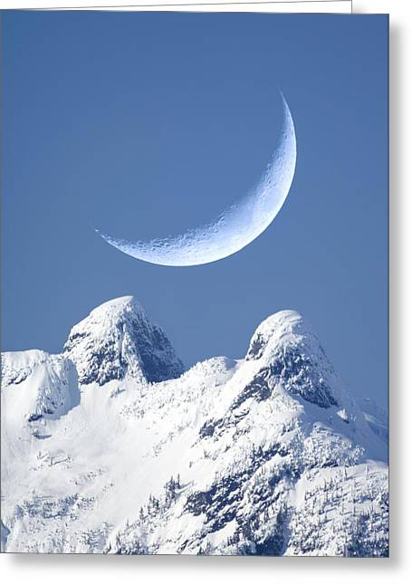 Lunar Crescent Greeting Cards - Crescent Moon Over The Lions, Canada Greeting Card by David Nunuk