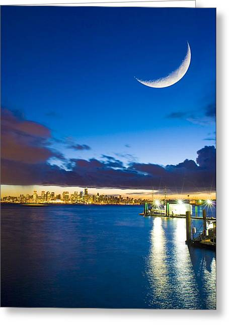 Lunar Crescent Greeting Cards - Crescent Moon Over Vancouver Greeting Card by David Nunuk