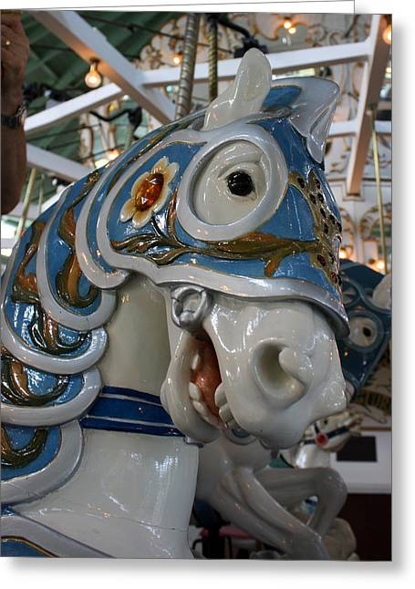 Looff Greeting Cards - Crescent Park carousel horse Greeting Card by Anne Babineau
