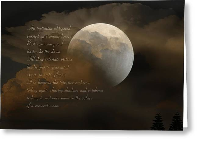 Dream Scape Digital Greeting Cards - Cresent Moon  Greeting Card by Joseph G Holland