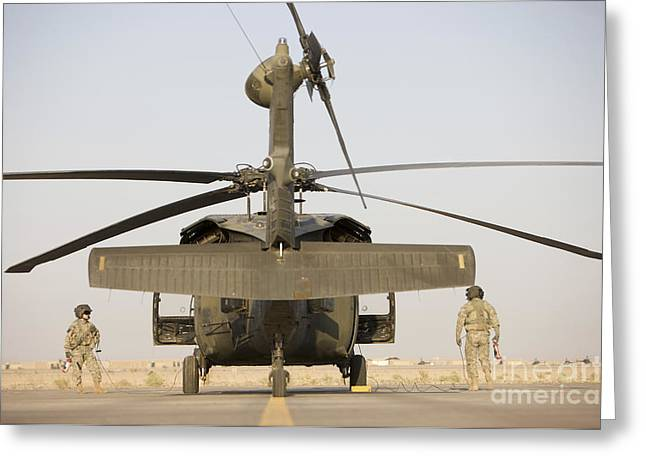Crew Chiefs Stand Beside Their Uh-60l Greeting Card by Terry Moore