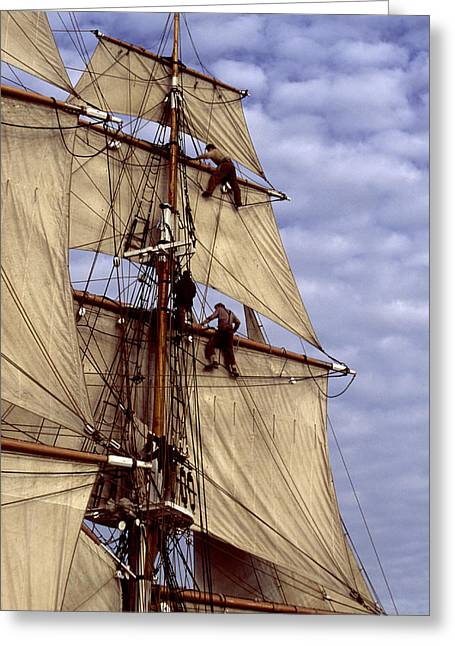 Tall Ships Greeting Cards - Crew in rigging of tall ship Greeting Card by Cliff Wassmann