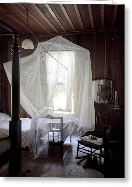Lynn Palmer Studios Greeting Cards - Crib with Mosquito Netting in a Florida Cracker Farmhouse Greeting Card by Lynn Palmer