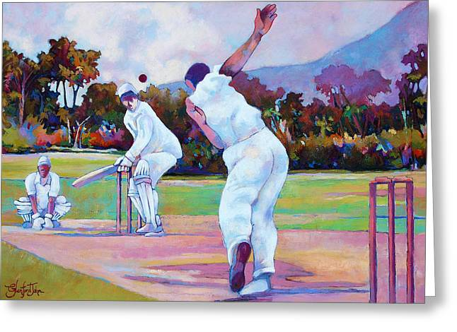 Cricket Paintings Greeting Cards - Cricket In The Park Greeting Card by Glenford John