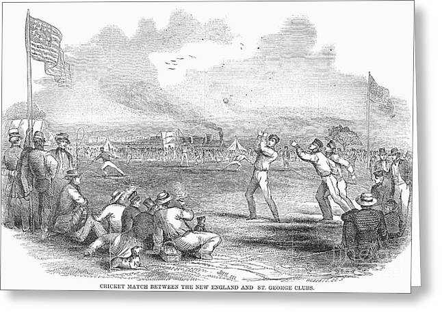 American Cricketers Greeting Cards - Cricket Match, 1851 Greeting Card by Granger