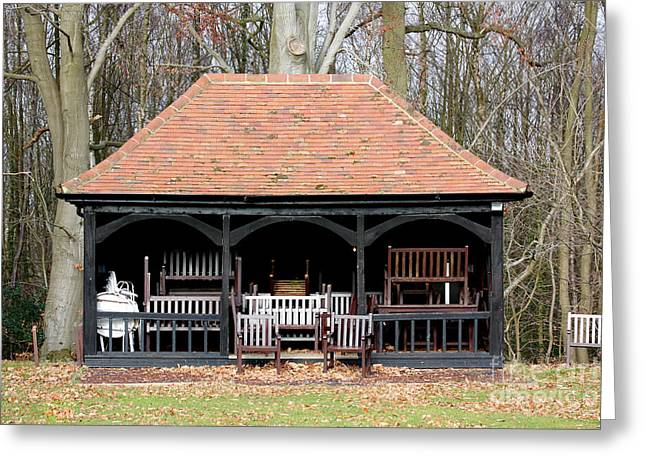 Cricket Pavillion Filled With Chairs Greeting Card by Simon Bratt Photography LRPS